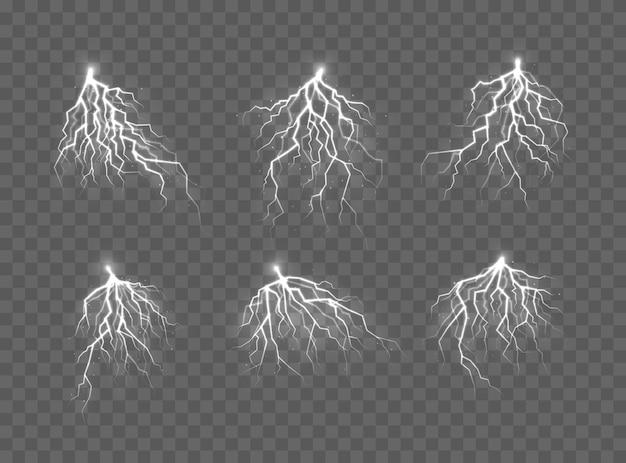 Onweer en bliksem, het effect van licht en glans. ontlading elektrische stroom.