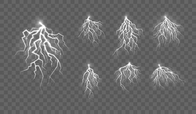 Onweer en bliksem het effect van licht en glans ontlading elektrische stroom