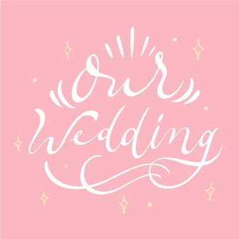 Onze bruiloft belettering met sparkles