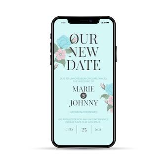 Onze nieuwe datum heeft de trouwtelefoon-app uitgesteld
