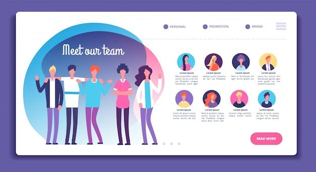 Onze teampagina. structuur van de personeelsorganisatie. over ons webpagina met professionele avatars, mannelijke vrouwelijke heldere gezichten. vector sjabloon