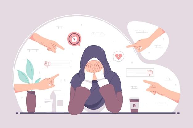 Onzekere hijab-meisje voelt stress en duizelig