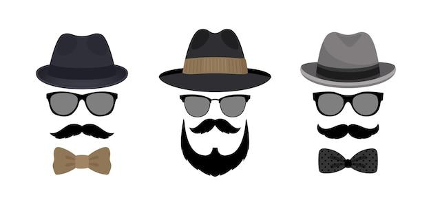 Onzichtbare mannenhoed, snor en bril.