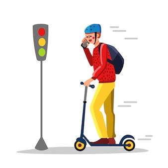 Onzorgvuldig man kick scooter rijden op straat