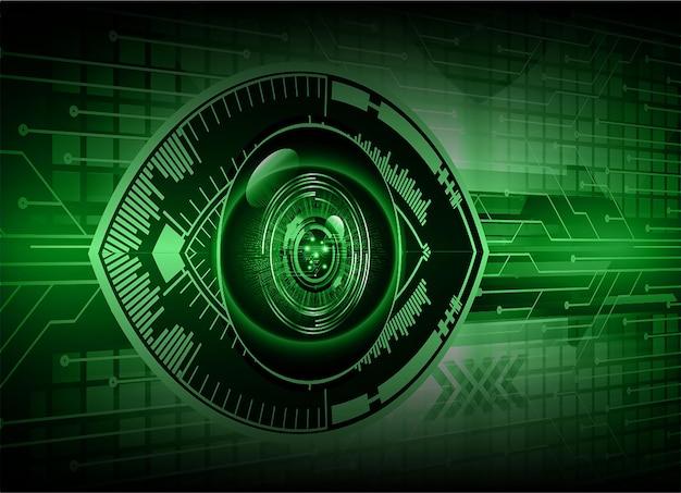 Oog cyber circuit toekomstige technologie concept achtergrond gesloten hangslot op digitale
