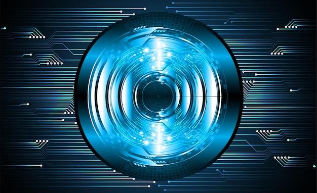 Oog cyber circuit toekomstige technologie concept achtergrond infographics gesloten hangslot op digitaal