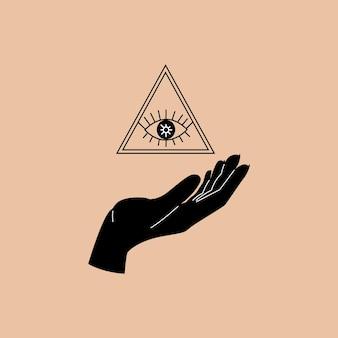 Oog in een driehoek op de hand in een trendy stijl