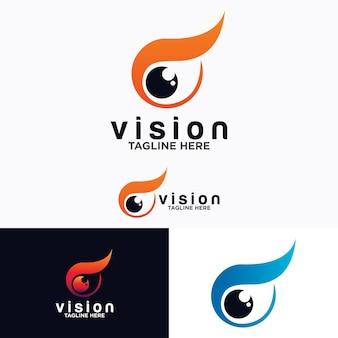 Oog logo vector ontwerpsjabloon. kleurrijke mediapictogram. visie concept idee.