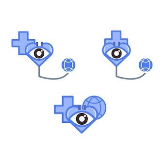 Oog met liefdestetoscoop en bolillustratie ooggezondheidsillustratieconcept voor wereldgezichtsdag