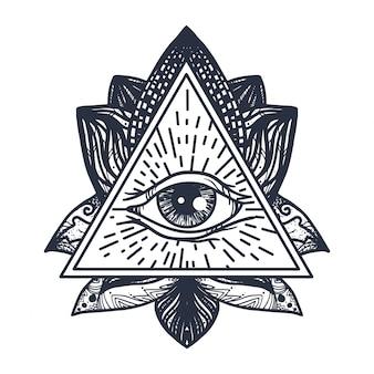 Oog op lotus tattoo