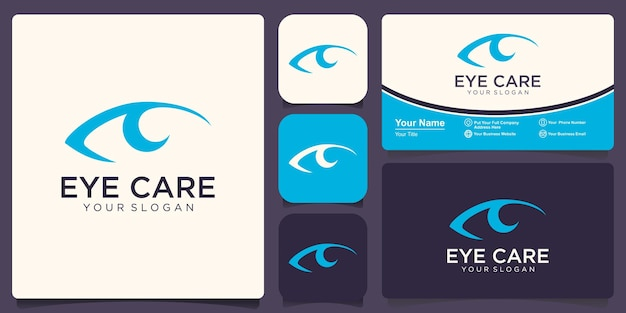 Oog zorg logo concept. platte lijn oog pictogram ontwerpsjabloon.