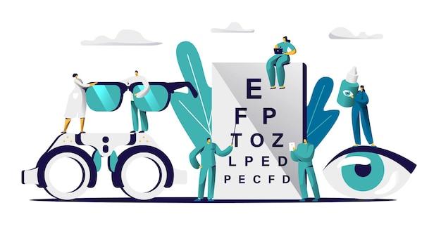 Oogarts arts controleer het gezichtsvermogen voor brildioptrie. mannelijke oogarts met aanwijzer checkup oog zicht.