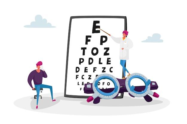 Oogarts arts controleren gezichtsvermogen van de patiënt voor brillen dioptrie illustratie