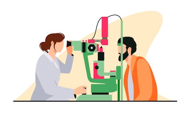 Oogarts controleert het gezichtsvermogen van de patiënt in een plat ontwerp