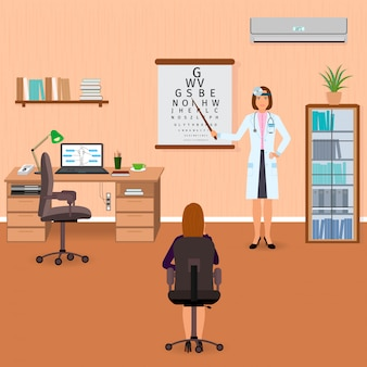 Oogarts controleert het gezichtsvermogen van de patiënt in het kantoor van de oogarts. medicijnarts bezoeken.