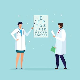 Oogarts controleert het zicht van de patiënt. optische oogtest, optisch oogonderzoek. optometrist controleert oogzicht. oftalmologisch onderzoek in het ziekenhuis. cartoon ontwerp