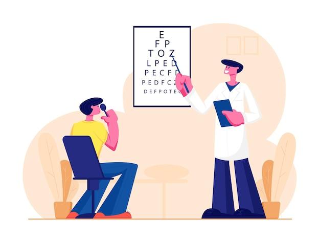 Oogarts dokter controleer het gezichtsvermogen op de dioptrie van de bril