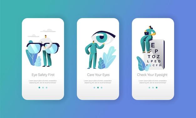 Oogarts dokter test gezichtsvermogen op tekstkaart mobiele app-pagina schermset aan boord.