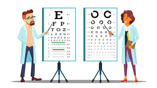 Oogarts onderzoekt patiënt gezichtsvermogen tekenset