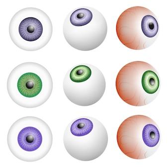 Oogbal anatomie mockup set. realistische illustratie van 9 modellen van de anatomie van de oogbal voor web