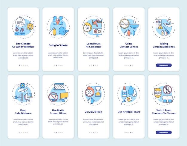 Ooggezondheid onboarding mobiele app-paginascherm met ingestelde concepten. droog klimaat of winderig weer walkthrough 10 stappen grafische instructies. ui-sjabloon met rgb-kleurenillustraties