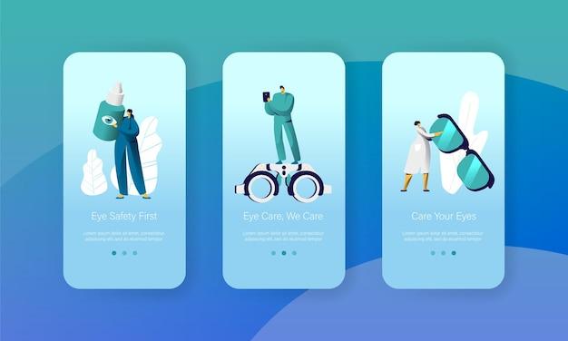 Oogheelkunde arts test gezichtsvermogen mobiele app-pagina schermset aan boord.