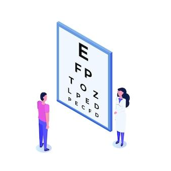 Oogheelkunde concept. oogarts controleert het zicht van de patiënt.