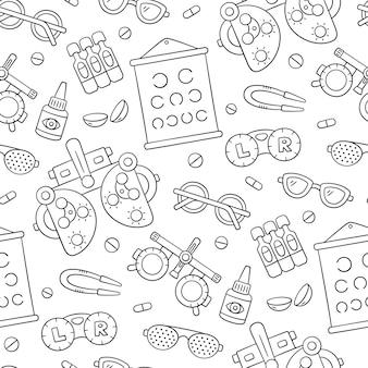 Oogheelkunde hand getekende naadloze patroon. contactlens, bril, phoropter en meer.