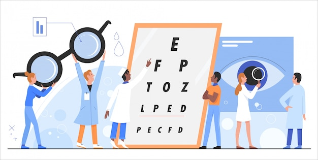 Oogheelkunde illustratie. cartoon platte arts oogarts oculist karakters controleren, de gezondheid van de ogen van de patiënt onderzoeken met snellen chart test, kliniek medisch onderzoek geïsoleerd
