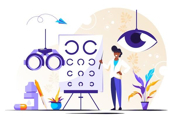 Oogheelkunde illustratie. kleine ogen gezondheid personen
