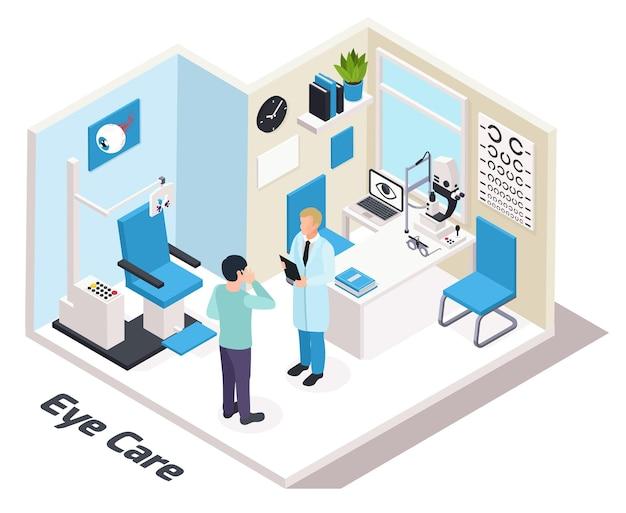 Oogheelkunde isometrische samenstelling met illustratie van het kantoor van oogzorgspecialisten