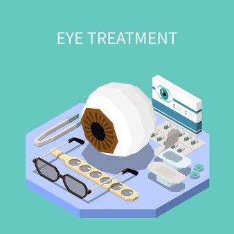 Oogheelkunde isometrische samenstelling met oogbehandeling apparatuur 3d illustratie