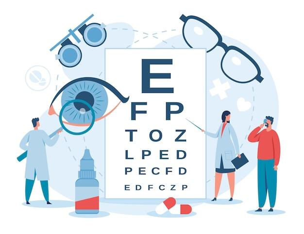Oogheelkunde oogarts die het gezichtsvermogen van de patiënt controleert bijziendheid diagnostische behandeling vector concept