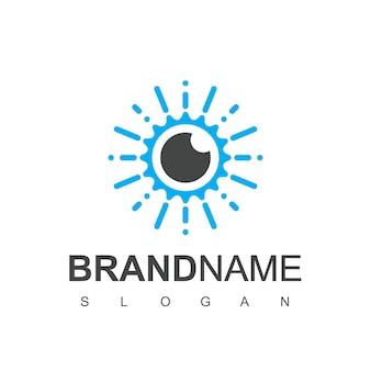 Ooglogo oogkliniek en retina scan-logo voor beveiligingsbedrijf