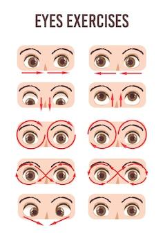Oogoefening set. beweging voor ontspanning van de ogen. oogbol, wimper en wenkbrauw. in verschillende richtingen kijken. geïsoleerde illustratie. oog visie oefening gymnastiek. gezondheidszorg voor het menselijk gezichtsvermogen.