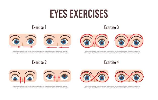 Oogoefening set. beweging voor ontspanning van de ogen. oogbol, wimper en wenkbrauw. in verschillende richtingen kijken. geïsoleerde illustratie