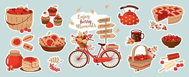 Oogst bessen en herfsttaarten set. kersen, wilde veenbessen, manden, taarten, pannenkoeken, jam, fiets, kruispuntwijzer. vector clipart, stickerpakket.
