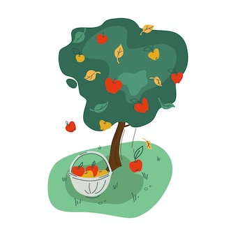 Oogst. een appelboom en een mand met appels. vector.