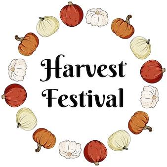 Oogst festival decoratieve krans banner met schattige kleurrijke pompoenen