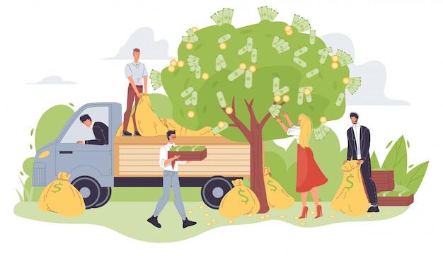 Oogstende mensen die geld plukken van groene boom