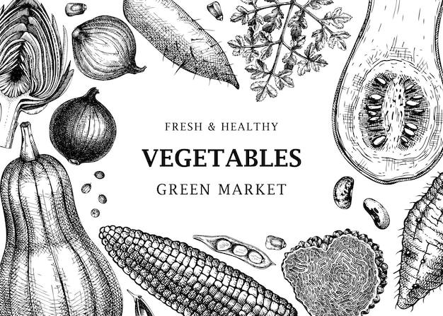 Oogstfestival vector frame ontwerp groenten kruiden paddestoelen achtergrond met hand getekende elementen gezonde voeding ingrediënten sjabloon voor spandoek voor recepten webbanners menu advertenties