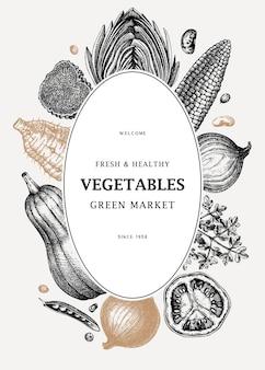 Oogstfestival vector frame ontwerp groenten kruiden paddestoelen achtergrond
