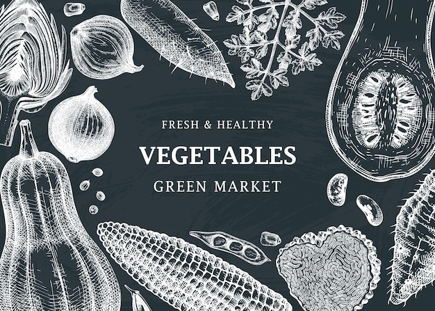 Oogstfestival vector frame ontwerp op schoolbord groenten kruiden paddestoelen achtergrond met handsketched elementen gezonde voeding ingrediënten sjabloon voor spandoek voor recepten webbanners menu-advertenties