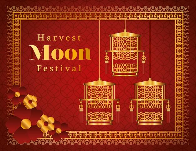 Oogstmaanfestival met gouden lantaarnsbloemen en lijst