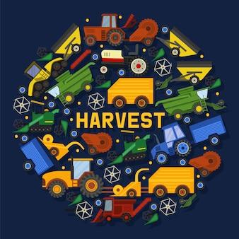 Oogstmachines samenstelling illustratie. apparatuur voor de landbouw. industriële boerderij