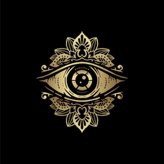 Oogsymbool met gouden bloemenmandalaornament. visie van de voorzienigheid. luxe, alchemie, religie, spiritualiteit, occultisme, tattoo-kunst, tarotlezer