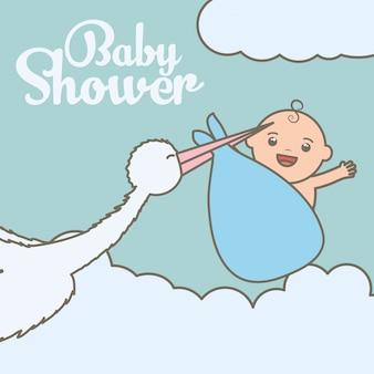 Ooievaar die met leuke babyjongen in zak vliegt