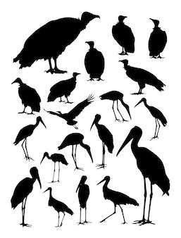 Ooievaar en gieren silhouet