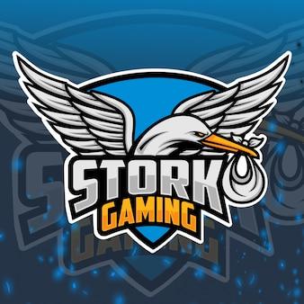 Ooievaar gaming mascotte esport logo ontwerp