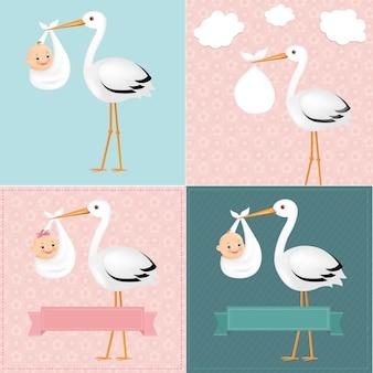 Ooievaar met baby set met verloopnet illustratie